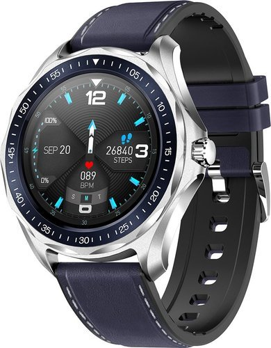 Умные часы Senbono S09 Plus, кожаный ремешок, синий фото