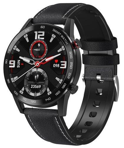Умные часы DT No.1 DT95, кожаный ремешок, черный фото